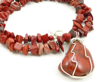 Red Jasper Necklace - Wire Wrapped Pendant - Gemstone Necklace - Sterling Silver - Statement Necklace - Chunky Necklace - Artisan Jewelry