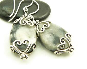Marble Earrings - Grey Marble Earrings - Dangle Earrings - Sterling Silver - Rustic Jewelry - Artisan Jewelry
