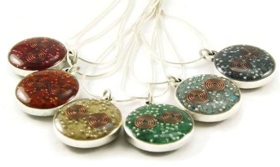 Orgone Energy Small Reversible Pendant in Silver  - Choose Your Stones - Custom Pendant - Orgone Jewelry - Artisan Jewelry