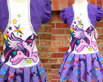 Girls Twilight Sparkle Dress, Girls MLP Dress, My Little Pony Dress, Twilight Sparkle Dress - 2 Sizes Left 4 5