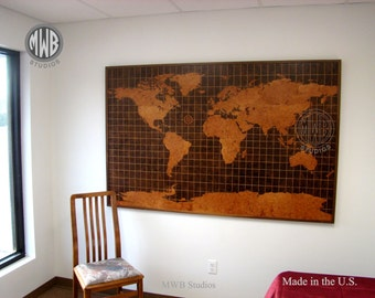 World Map in walnut and madrone burl woods.