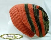 Carrot Orange and Camo Slouch Hat - Size Medium/Large - Made to Order