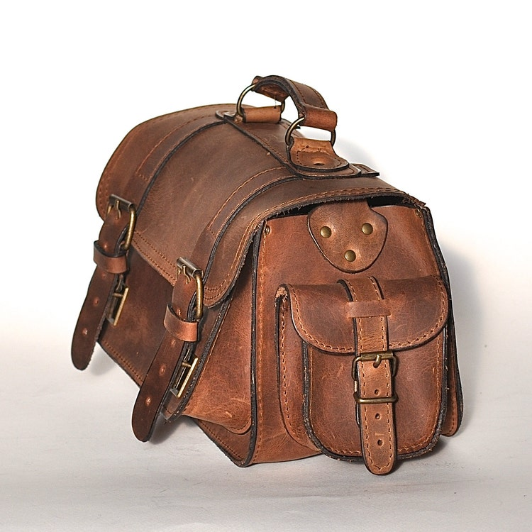 Medium Size Leather Camera Bag Women Men Chestnut By