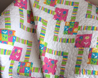 """An Ultra Modern Square-In-A-Square 44.5"""" X 61.5"""" Quilt In Bright Colors of Pink, Spring Green, Cerulean Blue and Yellow"""