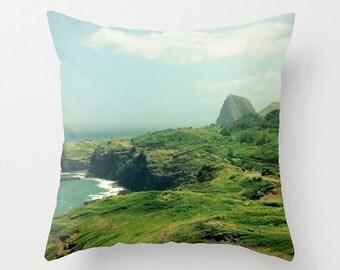 Tropical Sofa Pillow, Tropical Cushion, Hawaii Landscape Accent Pillow, Beach House Decor, Throw Pillow, 18x18 22x22 Decorative Cushion