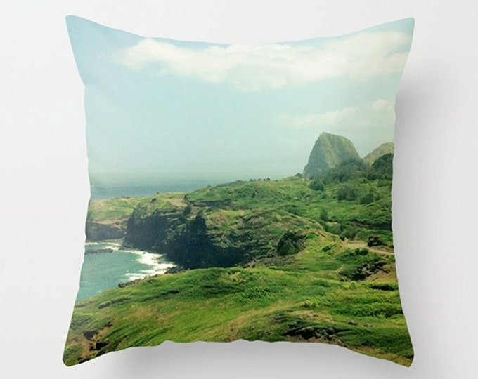 Tropical Sofa Pillow, Tropical Cushion, Hawaii Landscape Accent Pillow, Beach House Decor, Throw Pillow, 18x18 22x22 Decorative Cushion