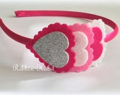 Felt Heart Headband  for Valentine's Day in Hot Pink and Silver Glitter, light pink for Girls Hard Headband- Sparkle Headband for Children