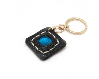 Black Leather Keys Charm with blue crystal