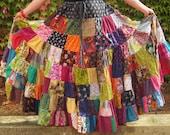 Damen plus Größe Flickwerk Twirler Rock, Damen Regenbogen Rock, Regenbogen Patchwork Rock, Womens Herbst Rock, Festivals, umweltfreundlich, Erde