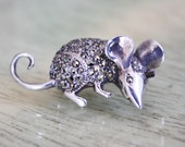 Vintage Silver Marcasite Mouse Pin