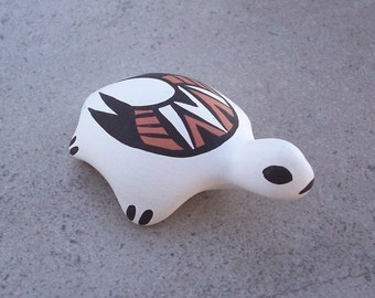 Hand Painted Southwest Turtle with Native American Design 1980's