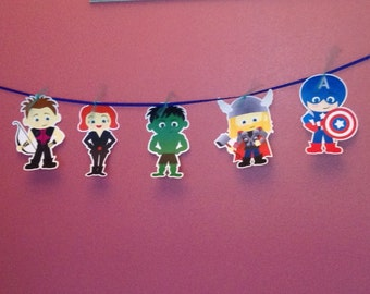 Kids Dressed As Superheros Garland or Banner