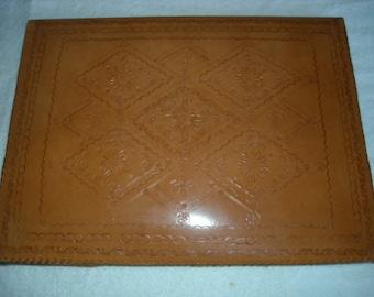 Vintage Hand Tooled Leather Portfolio Desk Pad  SALE!!