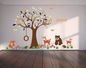 tree decal, vinyl wall decal, tree branch, nursery decal, forest animals, bear, fox, deer, owl tree, name, swing
