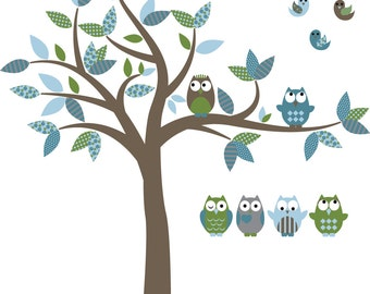 wall decals - Tree decal - Vinyl tree - Owl tree decal - Nursery tree - vinyl stickers