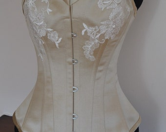 Gold Satin Wedding Corset with Lace Applique