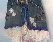 Petite denim skirt denim jeans skirt embellished denim jeans lace skirts distressed denim fashion skirts