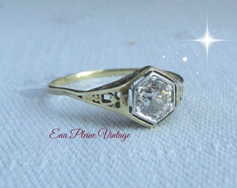 14K Gold Art Deco Diamond Ring Engagement Wedding Bridal Filigree Design Antique