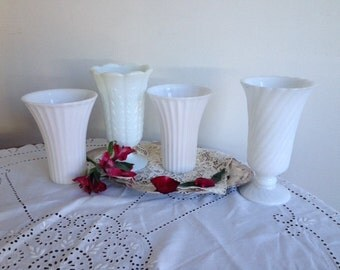 Sale Vintage Milk glass vases / set of 4