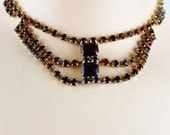 Vintage  Unsigned Ruby Red Rhinestones Faux Garnet choker Necklace