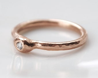 18k rose gold diamond ring, rustic gold engagement ring, solitaire diamond stacking ring