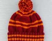 Harry Potter Beanie Pom Pom Hat Hogwarts House Colours Wool Free Made to Order Custom Hand Knitted