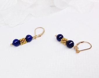 Gold Lapis Earrings Blue Lapis Earrings Blue Lapis Lazuli Earrings 14k Gold Filled Earrings 14k Gold Earrings Dangle Earrings BuyAny3+1Free