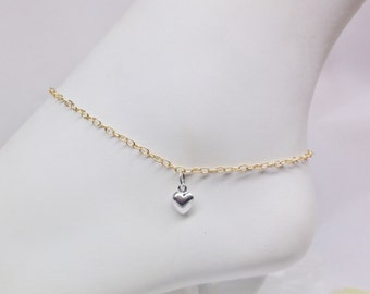 Solid 14kt Gold Ankle Bracelet Silver Heart Anklet 14kt Gold Chain Anklet 14k Anklet or 14kt Gold Bracelet 14kt Gold Jewelry BuyAny3+1 Free