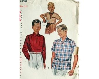 Boy's Shirt, Pattern, Boy's Size 12, Vintage Pattern, Simplicity 4543, Button Shirt, Long Sleeve, Short Sleeve, Dress Shirt, Collar