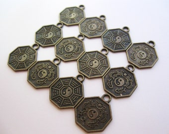 Yin Yang Charm, Antiqued Aged Brass Pendant