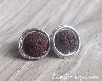Brown Stud Earrings,Aromatherapy, Sterling Silver Wrapped Lava Stone Stud Earrings