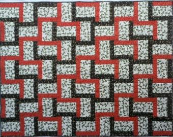 Happy Holly Days Quilt, Christmas Quilt, Holly Quilt, Red White Black Quilt, Christmas Holly Quilt