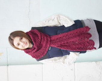 Hand knit Scarf , Knitted Scarf, burgundy, Long Knit Scarf, Chunky Knit Scarf , Oversized Scarf, Ready To Ship