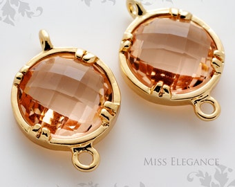2pcs Champaign Round Framed Faceted Glass Disc Stone Connector Gold Plated Brass Unique Jewelry Findings //12mm x 12mm// GSRC-0000-BG