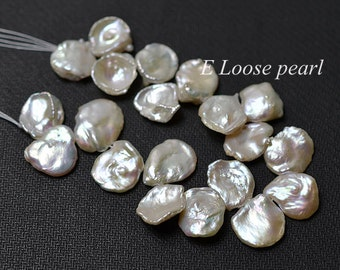 AAA cornflake pearl Freshwater Pearl Genuine Keshi pearl,Top Drilled Keshi Necklace loose pearls White 13-14mm wedding Full strand PL4220
