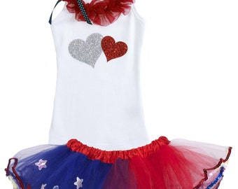 Red Ruffle Silver American Love Hearts, 4th of July Outfit, Independence, Memorial Day, Patriotic, Red White Blue Stars Tutu, Birthday Set