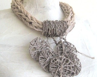 Spring necklace knit/macrame statement knit/fiber art jewel/wearable art