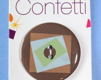 Confetti Squares Brown 2 Hole Sew Through Button 1-3/8''