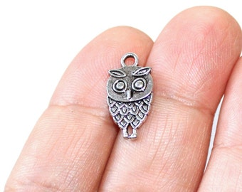 8 Owl Charms Antique Silver Tone 2 sided - CH314
