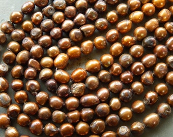 8-12mm Golden Brown Cultured Freshwater Potato Pearls, 10 PC (INDOC35)