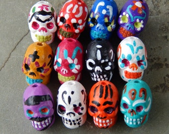 "13X9mm Assorted ""Day of the Dead"" Ceramic Handcrafted Skull Beads, 12 PC Bulk Lot (IND5C40)"