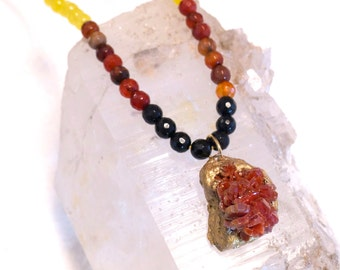 Vanadinite wrapped in Gold Resin Mesh- Long Layering Necklace -with Black Oynx and Jade Beads