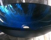 "17"" Metallic Cobalt Blue and Black Hand Painted Modern Contemporary Glass Vessel Sink Basin 150"