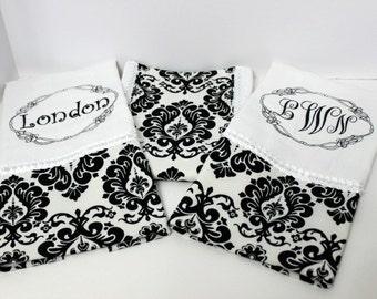 Black and White Baby Burp Cloth Set