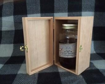 Unfinished Wood Box w/ Hinges & Latch-Holds 1 Bottle of Moonshine-Mason jar box-Candle box-Pint jar box-Jelly gift box-Groomsmen Box