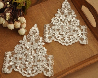 beaded lace applique in ivory for Bridal, Straps, Headbands, Sashes, Costume Design, 4 pieces