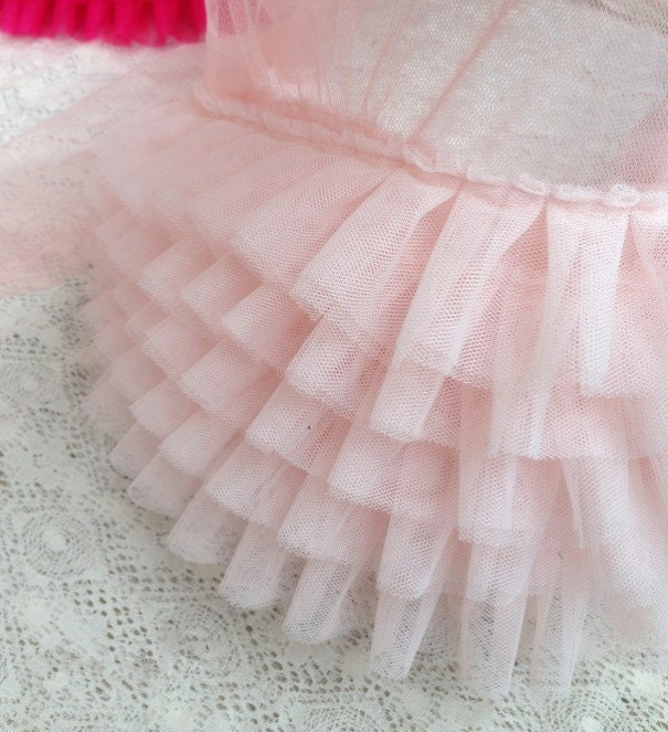 Pink ruffled lace trim pleated trim lace for wedding dress for Pink ruffle wedding dress