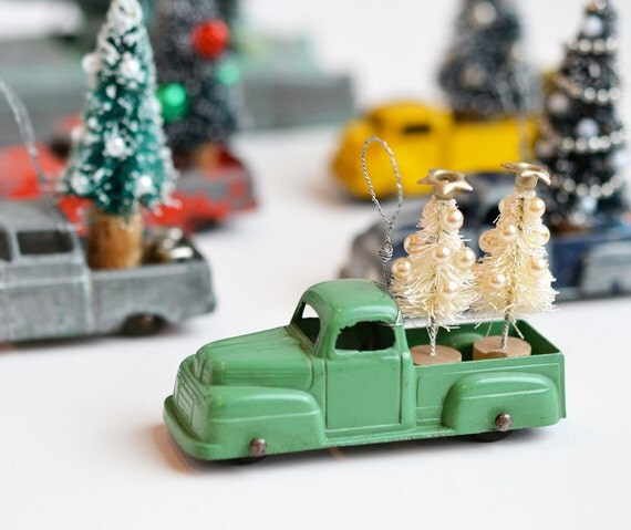 Vintage Toy car, Tootsietoy, Diecast Metal car, green pickup truck with bottle brush tree, Christmas ornament  by Elizabeth Rosen
