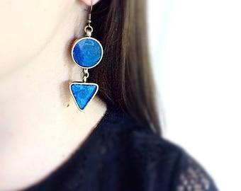 Cobalt Blue Geometric Earrings Statement Bright Bold