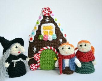Crochet finger puppets, Amigurumi Hansel and Gretel, Storytelling set, Crochet Hansel and Gretel, crochet gingerbread house